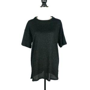 Zara glitter sparkle ribbed knit short sleeve top